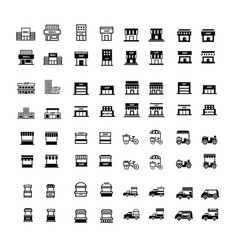store and shop icons 64 item vector image