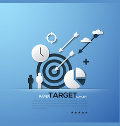 Target paper concept white silhouettes of aim vector