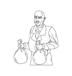 Thief cartoon with money bag design vector image