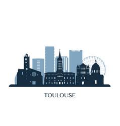 toulouse skyline monochrome silhouette vector image