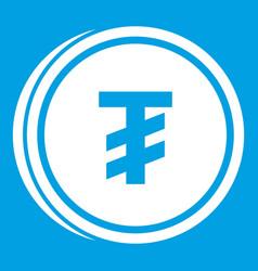 Tugrik coin icon white vector