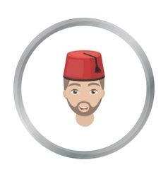 Turkish man icon in cartoon style isolated on vector image
