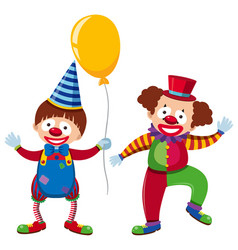 Two happy clowns with yellow balloon vector