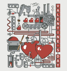 valentine card with love laboratory or factory vector image