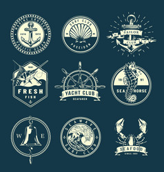 Vintage marine labels collection vector