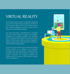 Virtual reality people in vr glasses color banner vector
