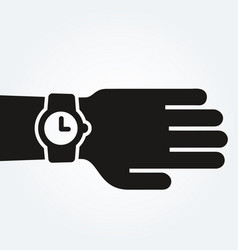 Watch on hand punctuality concept vector