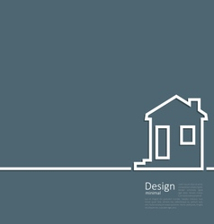 Web template house logo in minimal flat style vector