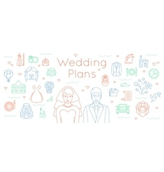 Wedding plans thin line flat background vector