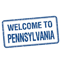 Welcome to Pennsylvania blue grunge square stamp vector