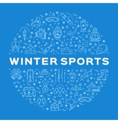 Winter sports icons circle infographics for vector image