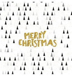 Merry Christmas Golden glitter Postcard Christmas vector image