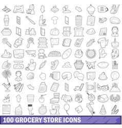 100 grocery store icons set outline style vector image