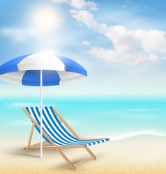 Beach with sun umbrella beach chair and clouds vector image vector image
