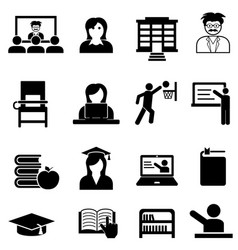 college and university web icon set vector image