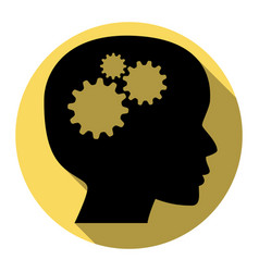 thinking head sign flat black icon with vector image