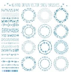 Winter snow brushesframesChristmas doodle wreath vector image vector image