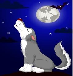 Cute wolf cartoon fowling vector image vector image