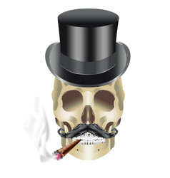 human skull gangster with hat mustache and sigar vector image vector image