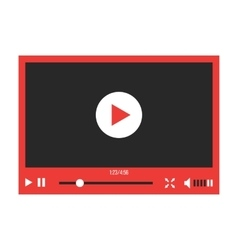 red video player interface isolated on white vector image vector image