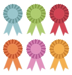 rosettes with ribbons vector image vector image