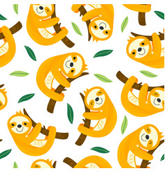 seamless pattern with sloth vector image vector image