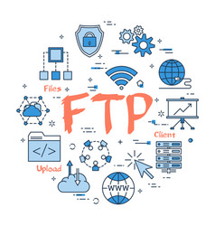 blue round ftp concept vector image vector image