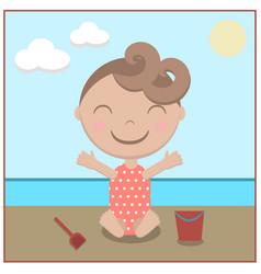 cartoon baby happy on beach vector image