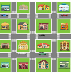 different shops and homes set vector image