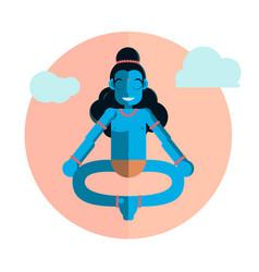 god krishna character sitting in lotus position vector image