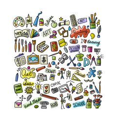 school of drawing icons set for your design vector image vector image