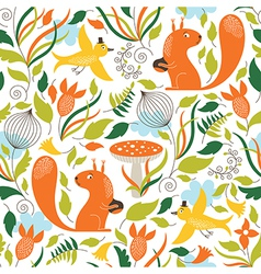 seamless pattern with a squirrels vector image vector image