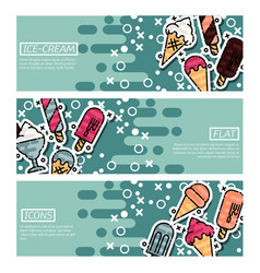 set of horizontal banners about ice-cream vector image vector image