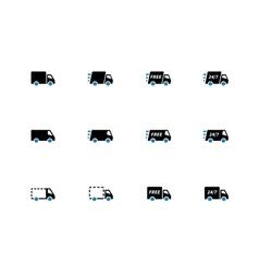 Shopping Trucks duotone icons on white background vector image vector image