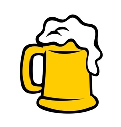 Tankard overflowing with frothy beer vector image
