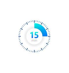 15 minutes stopwatch icon digital vector