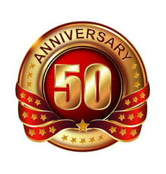50 anniversary golden label with ribbon vector image