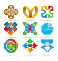 abstract icons set of geometric icons for design vector image