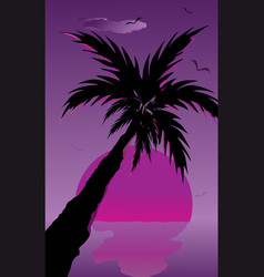 abstract landscape of palm tree silhouette vector image