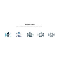 Adhan call icon in different style two colored vector