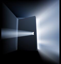 ajar door light beam concept vector image