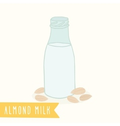 Almond milk in a glass bottle vector