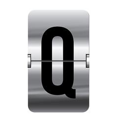 Alphabet silver flipboard letters q vector image