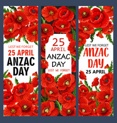 Anzac day 25 april poppy war memory banners vector