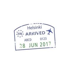 Arrived to helsinki visa grunge stamp isolated vector