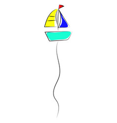 balloon in shape a boat on white background vector image