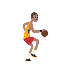 Basketball player athlete in uniform playing with vector