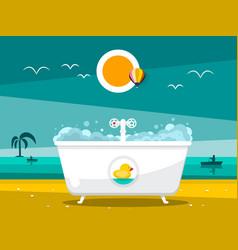 bathtub on beach with ocean on background vector image