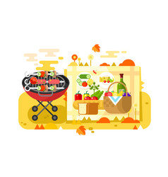 Bbq party design flat vector