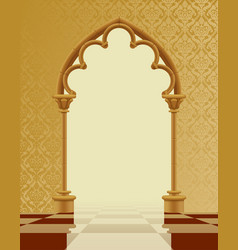 Beige and brown gothic gate with classic vector